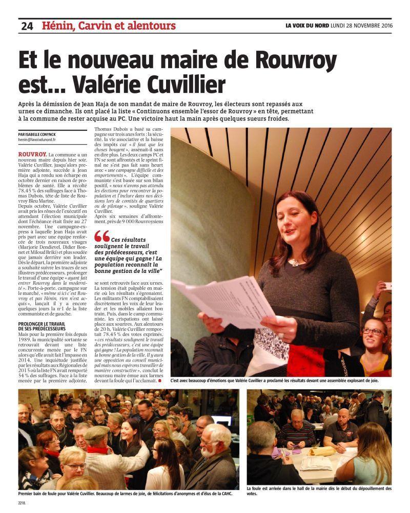 Une belle victoire pour Valérie Cuvillier, nouvelle maire de Rouvroy
