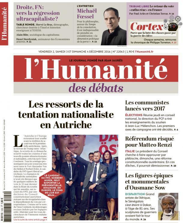 A la une de l'Humanité (02-12-16)