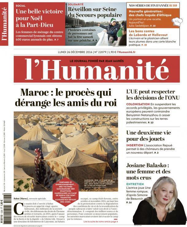 A la une de l'Humanité (26-12-16)