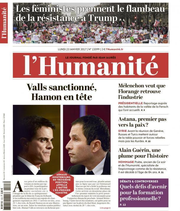 A la une de l'Humanité (23-01-17)