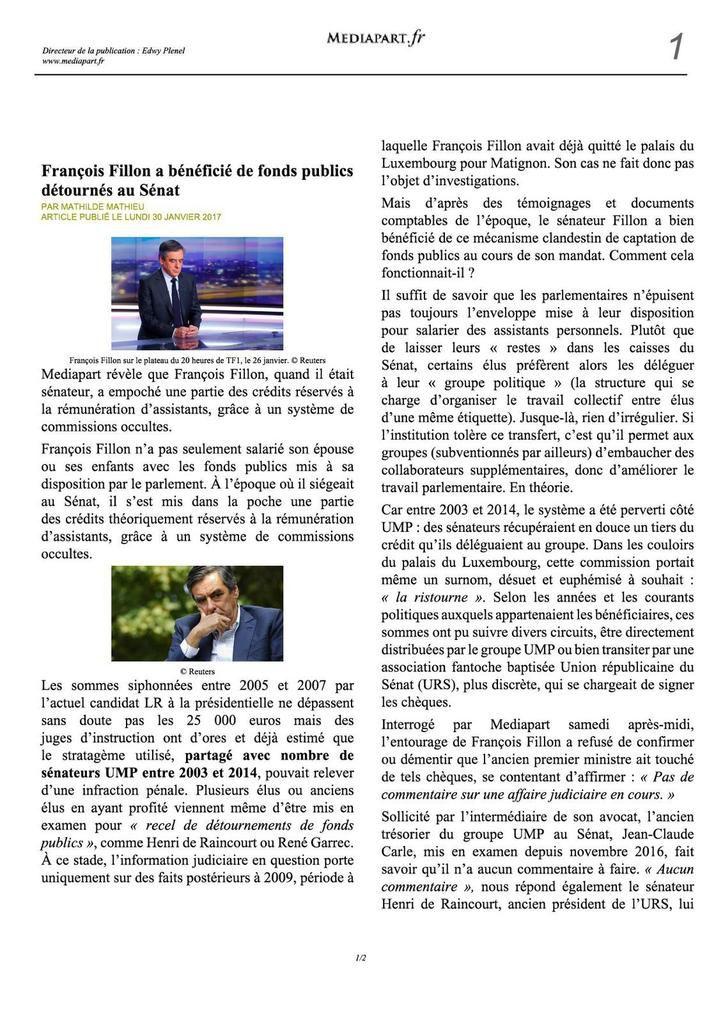 François Fillon a bénéficié de fonds publics détournés au Sénat