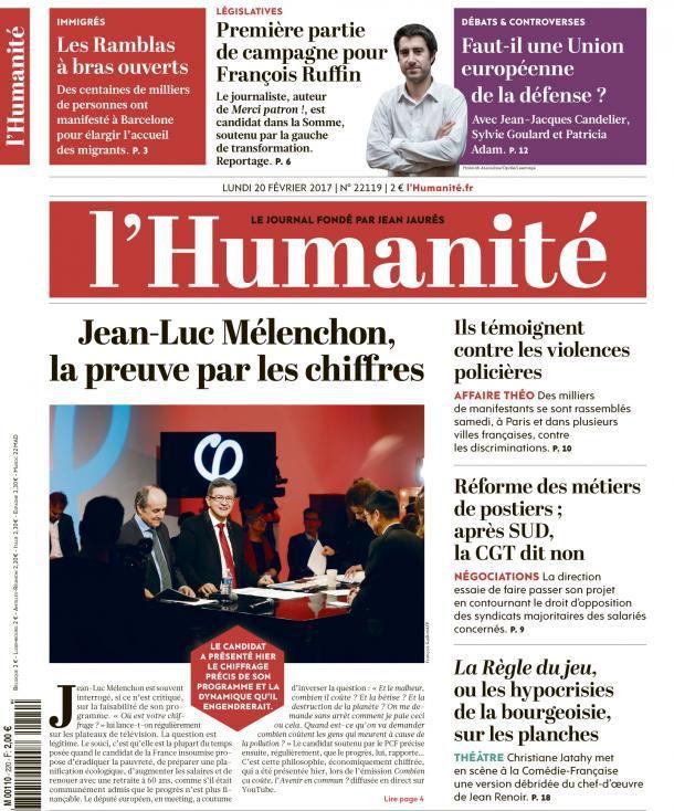 A la une de l'Humanité (20-02-17)