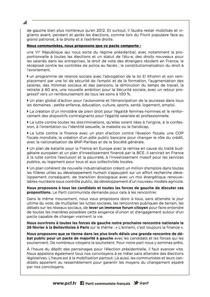 Adresse du PCF au peuple de France : pour le changement, un pacte pour une nouvelle majorité à gauche
