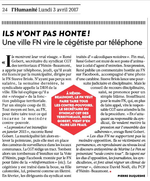 Une ville FN vire le cégétiste par téléphone