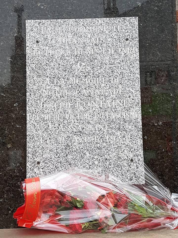 Commémoration du 83ème anniversaire de la mort de Joseph Fontaine