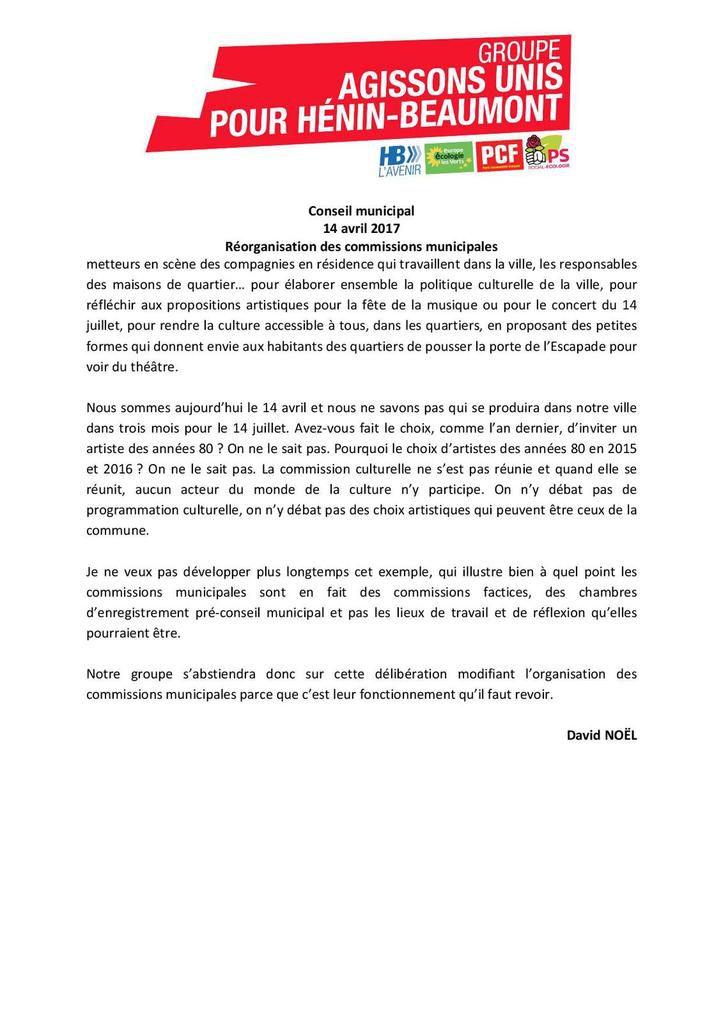 Conseil municipal du 14/04/17 : mon intervention sur la réorganisation des commissions municipales