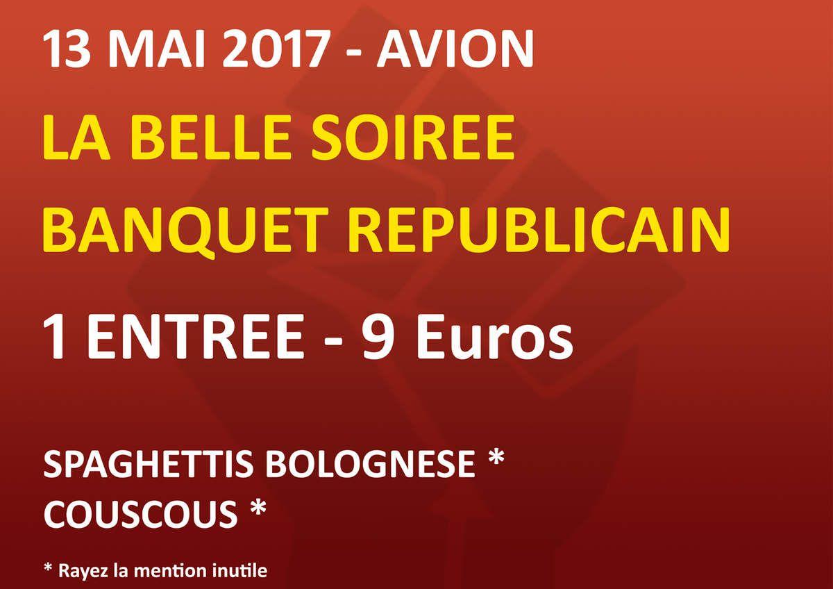 La Fédération communiste du Pas-de-Calais organise un meeting suivi d'un banquet républicain et d'une soirée dansante à Avion le 13 mai prochain