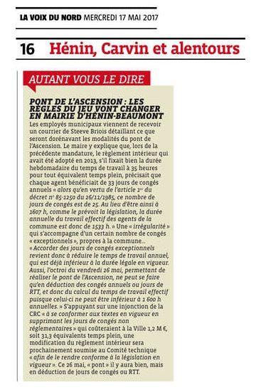 Pont de l'Ascension : les règles du jeu vont changer en mairie d'Hénin-Beaumont