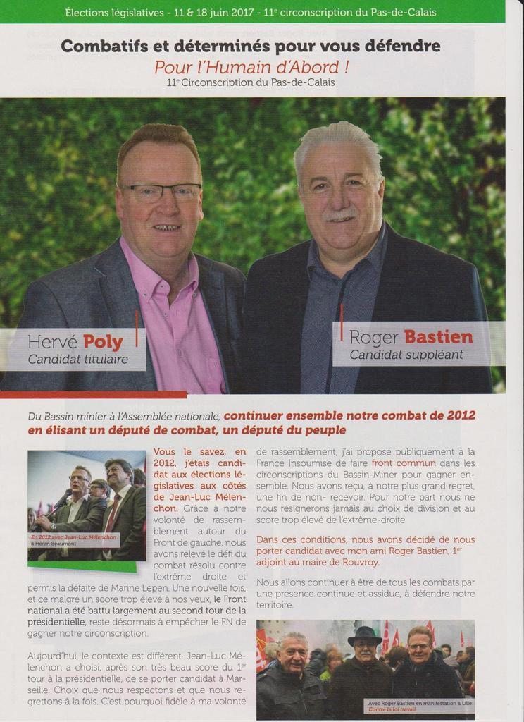 Législatives 2017 : la circulaire officielle d'Hervé Poly et Roger Bastien