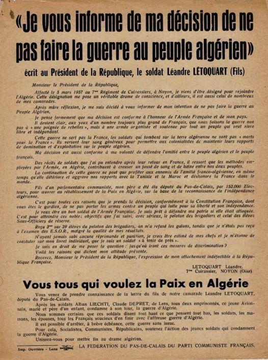Quand Léandre Létoquart refusait de faire la guerre au peuple algérien