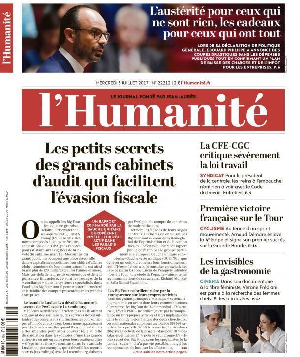 A la une de l'Humanité (05-07-17)