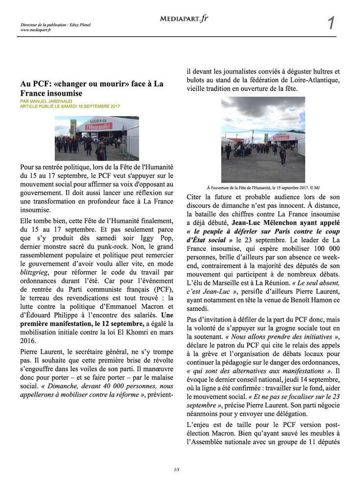 Au PCF : &quot&#x3B;changer ou mourir&quot&#x3B; face à La France insoumise