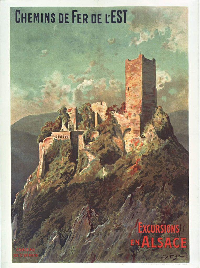 Ancienne affiche publicitaire de la Cie de l'Est pour une excursion en Alsace au château de St Ulrich.