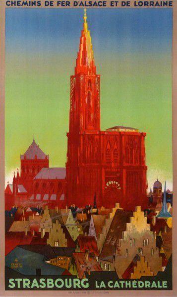 Ancienne affiche publicitaire des chemins de fer d'Alsace-Lorraine pour Strasborg et sa cathédrale.