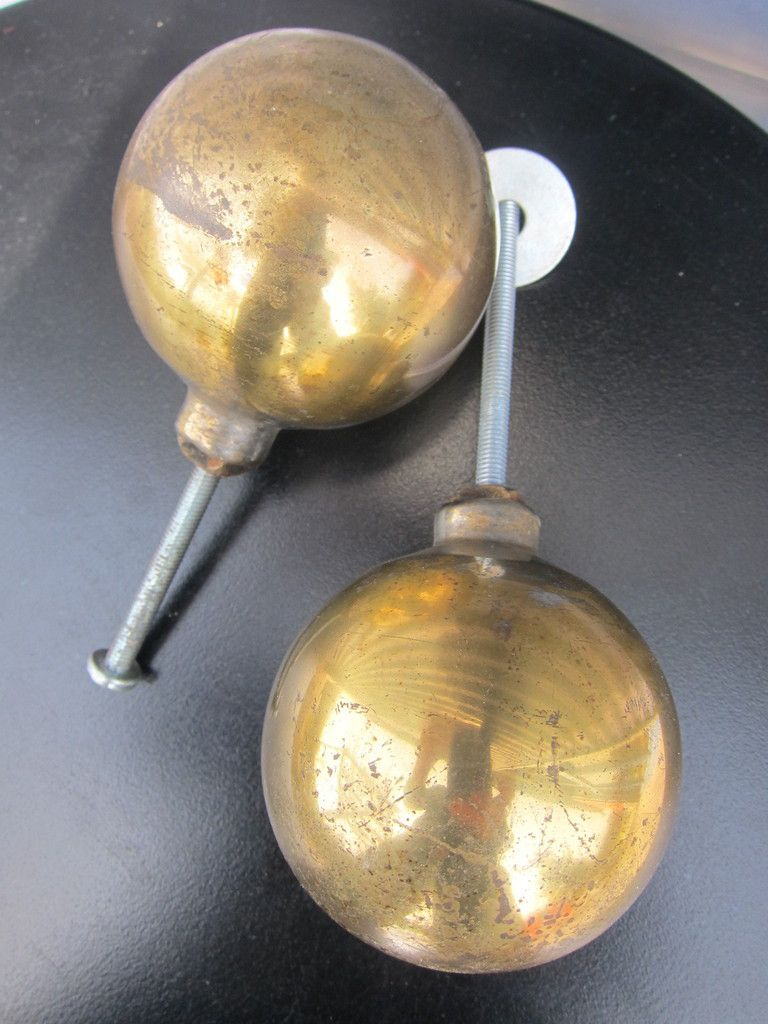 FRENCH ANTIQUE BRASS BALL / HANDRAIL KNOB / STAIRCASE NEWEL
