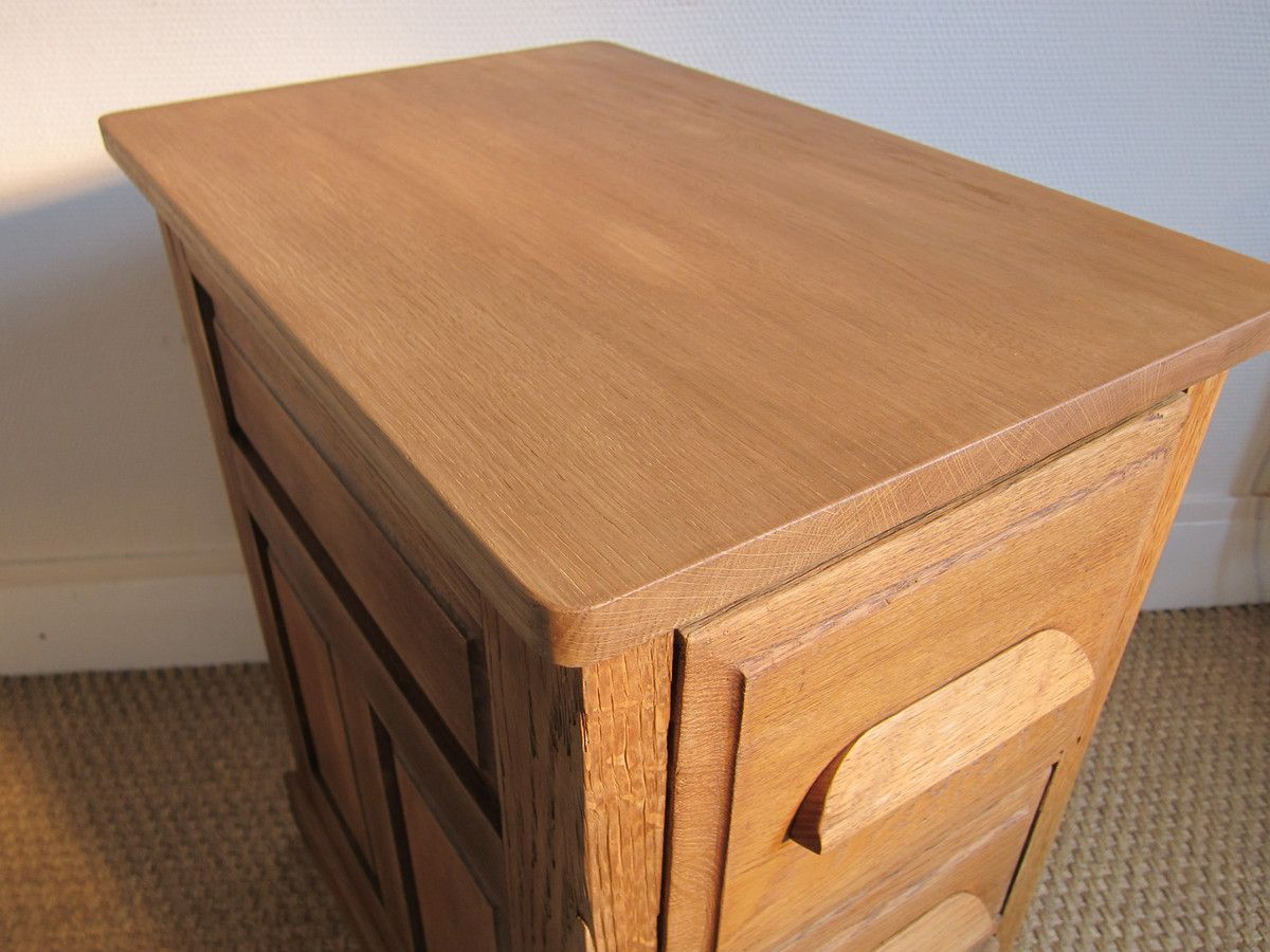 FRENCH VINTAGE 1940 SIDE TABLE WITH DRAWERS AND 4 WHEELS