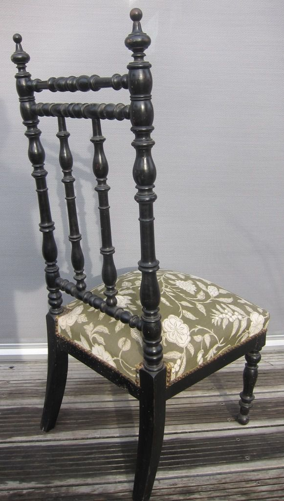 FRENCH ANTIQUE NAPOLEON III CHAIR BLACK WOOD