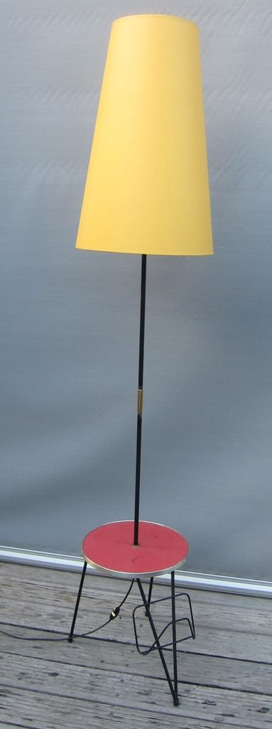 FRENCH VINTAGE 1950 FLOOR LAMP WITH MAGAZINE RACK AND TURN TABLE.