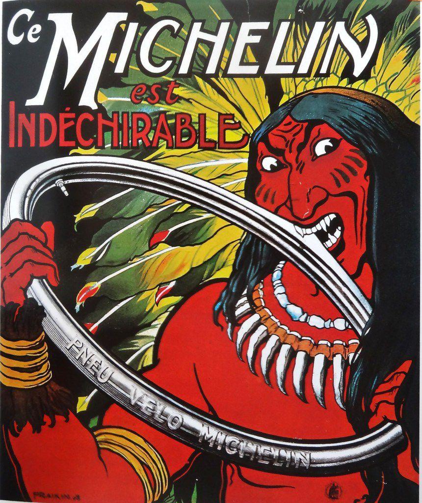 """""""Michelin est increvable"""", l'Indien , affiche de Fraikin pour le pneu vélo, 1908, Cl. Elisabeth Poulain"""