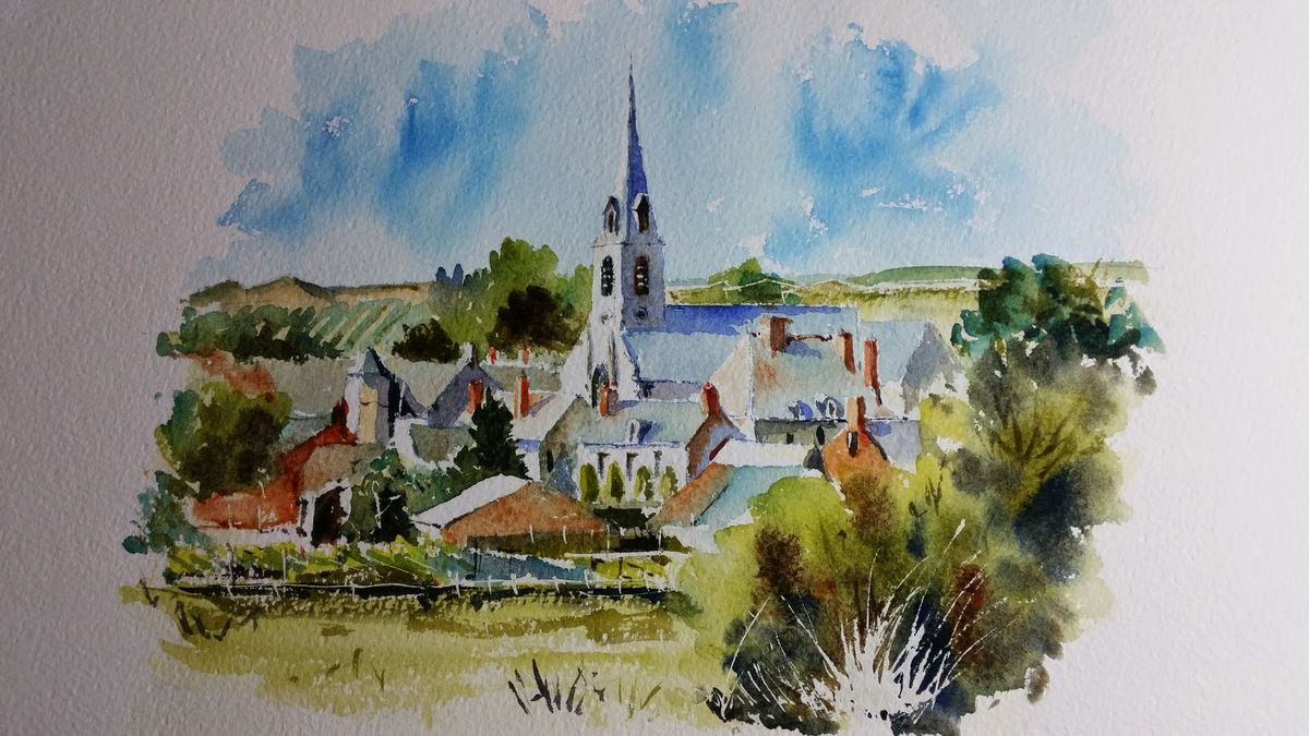 Yves de Saint-Jean, aquarelle, Village de Touraine, Cl. YDSJ