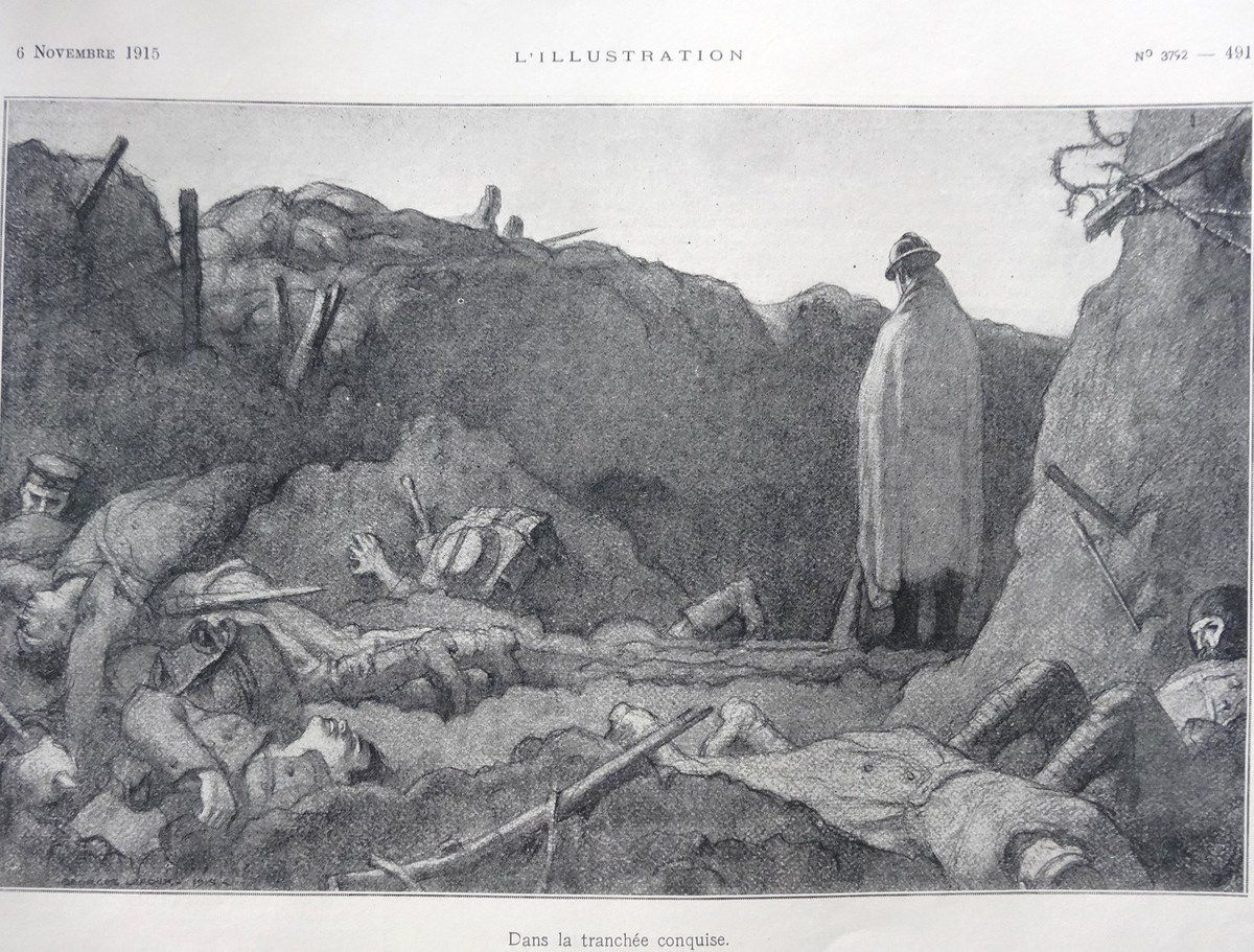 Dessin G. Leroux, Photo Lutte contre la boue, L'Illustration 06-11-1915, Cl. Elisabeth Poulain