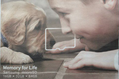 Samsung-microSD, Memory for Life, petit chien-petit garçon, Courrier International, n°1232, Cl1/2. Elisabeth Poulain