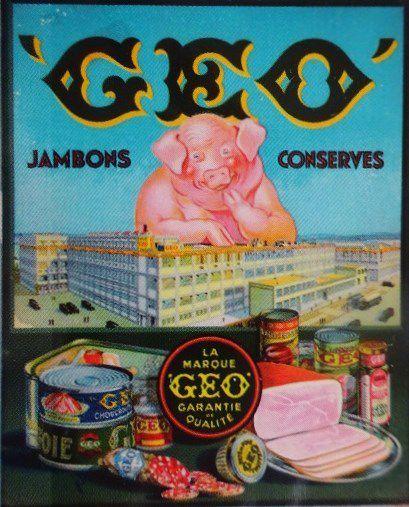 Affiche-Géo-le Cochon Géant-surplombant les Etablissements Géo-d'après-Joe-Bridge-Cl. Elisabeth Poulain