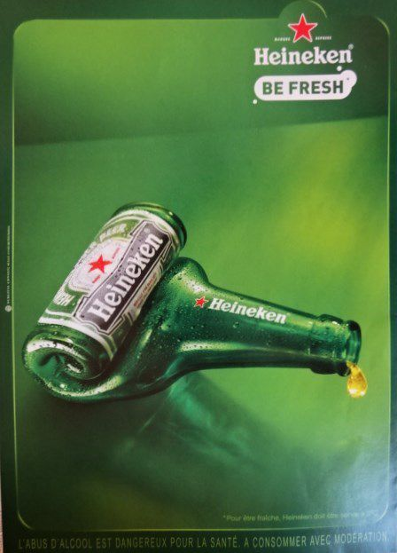 Pub Heineken-Le verre-La bouteille-Humour dernière goutte-2010-Cl. Elisabeth Poulain