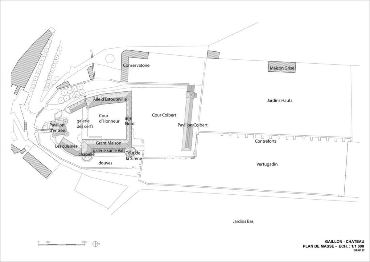 Gaillon, Château de Gaillon, plan-masse, Cl. France Poulain