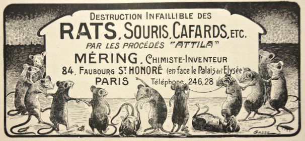 Annonce-Méring-contre les rats & co, L'Illustration-1910-07-09-Cl. Elisabeth Poulain