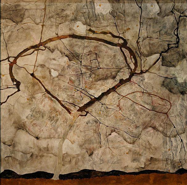 Egon Schiele-L'arbre d'automne dans le vent-1912-wikipedia-Yelkroyade-2012-Leopold-Museum-Wien