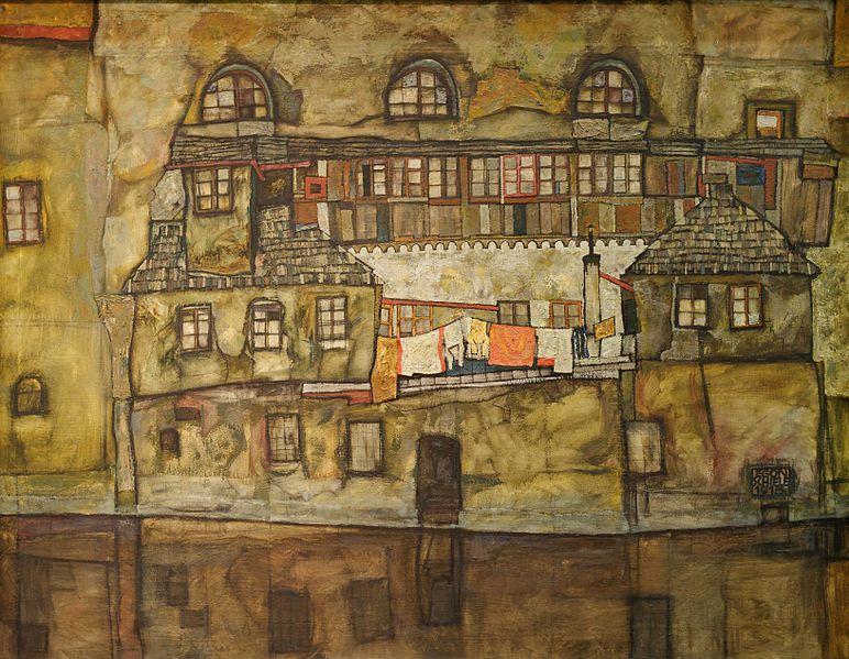 Egon Schiele-Façade sur le Danube-1915-wikipedia-Yelkroyade-2012-Leopold-Museum-Wien-