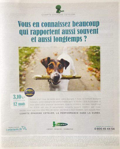 Publicité Cetelem, Courrier International 23.01.2014, Cl. du chien Philippe Guegen, PHOM-TWBA Paris