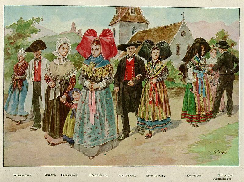 Alsaciennes, costumes traditionnels, aquarelle P.Kaufmann, L'Illustration n°1877-1937, scan Jebulon, wikipedia