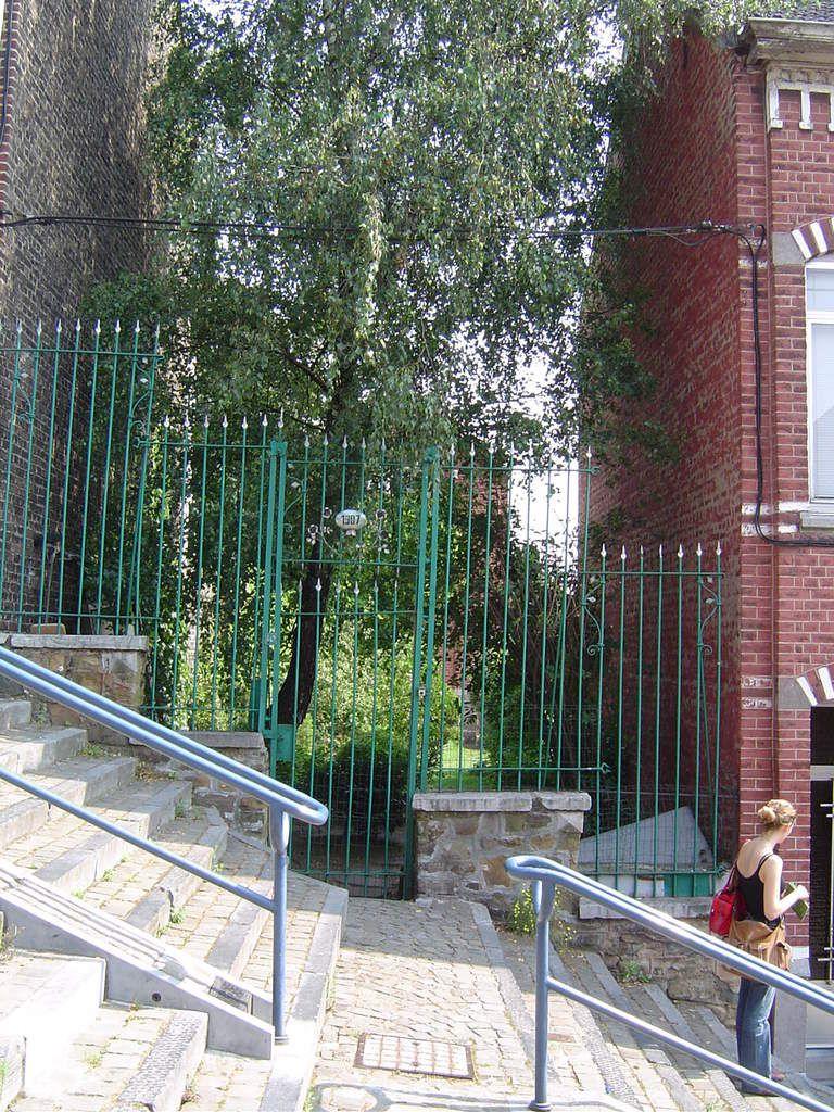 Liège, le Grand Escalier, vue sur le côté gauche, un jardin en terrasse, Cl. Elisabeth Poulain