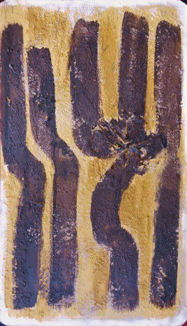 Carton peint, le trident, brou de noix, argile jaune, Cl. Elisabeth Poulain