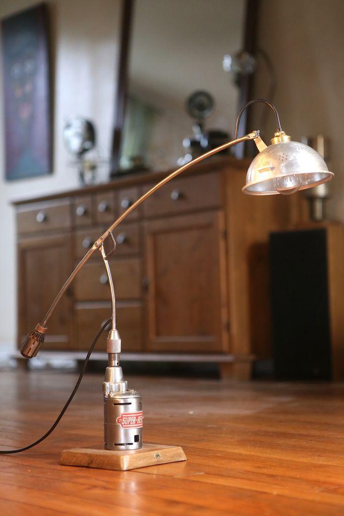 Création lampes récup articulées recyclage ancienne perceuse et aimant