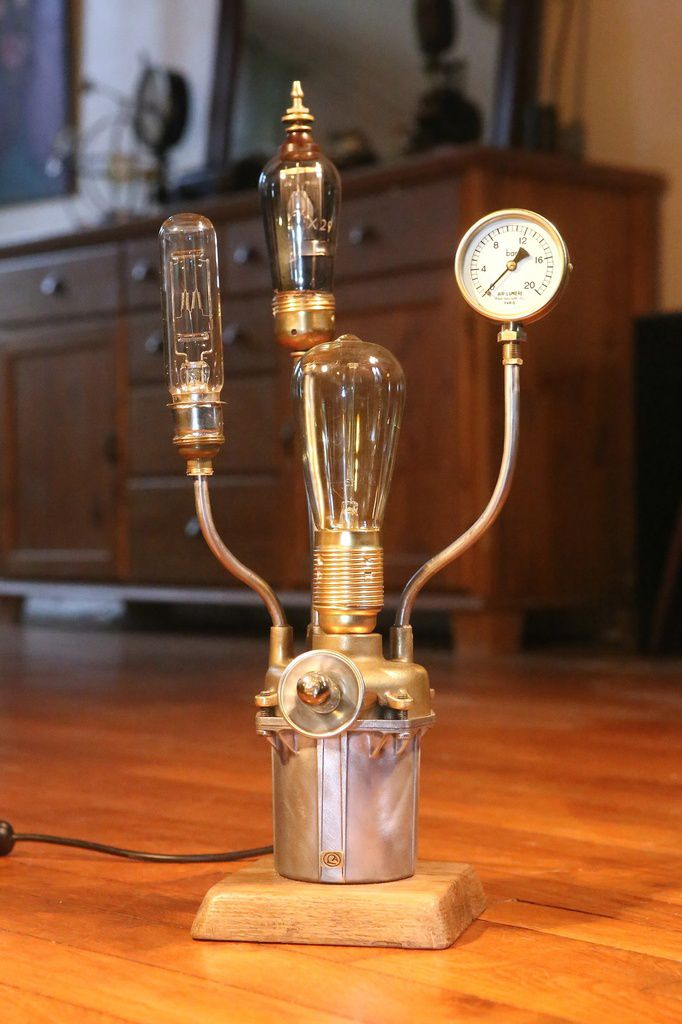 steampunk lampe cracation unique art raccup upcycling esprit lampen kaufen