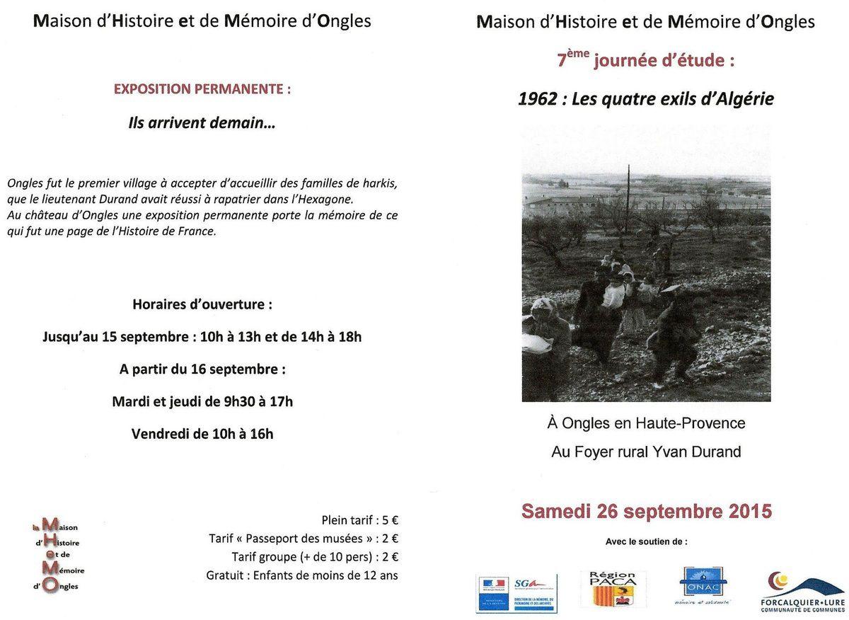 invitation ! 7ème journée d'étude de la MHeMO le 26 septembre - Ongles - (04)