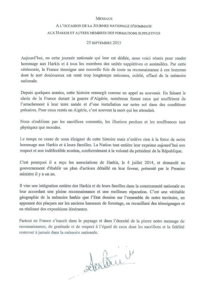 Message du ministre todeschini à propos de la Journée nationale &quot&#x3B;hommage aux Harkis et autres membres des formations supplétives &quot&#x3B;