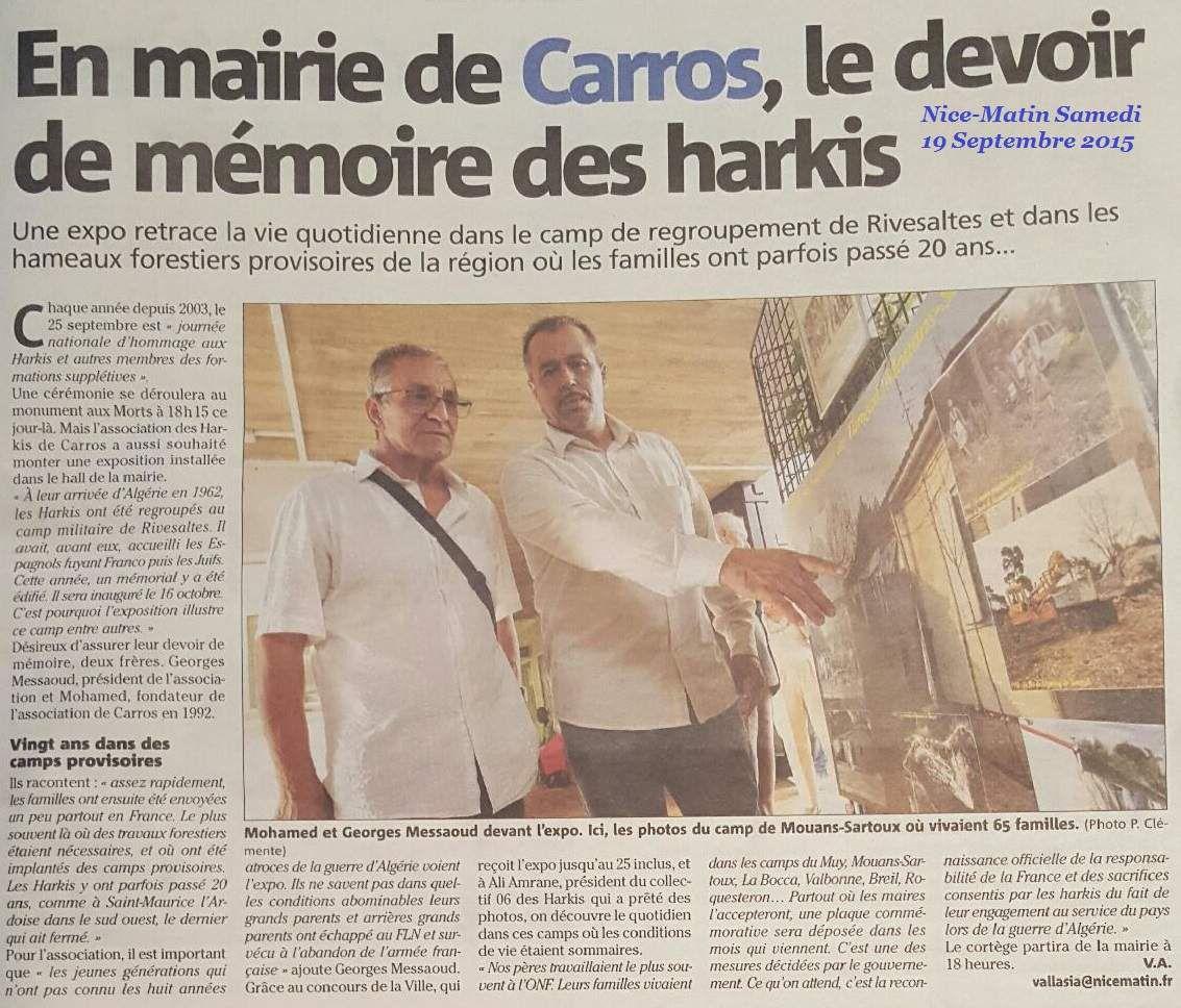 l'histoire des harkis s'expose en mairie à Carros (06),