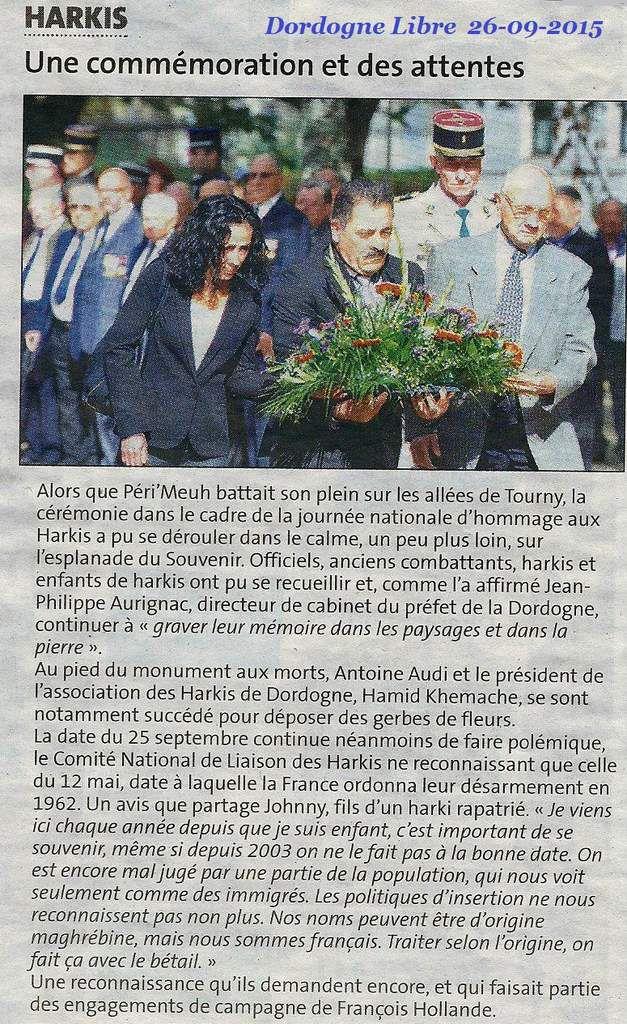 Articles de presse Journée des Harkis à Périgueux 25-09-2015