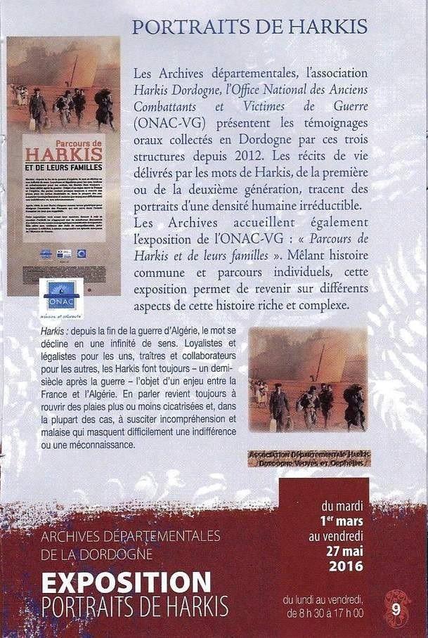 rendez-vous 2016 archives départementales de la dordogne, l'association départementale harkis dordogne, et onac-vg