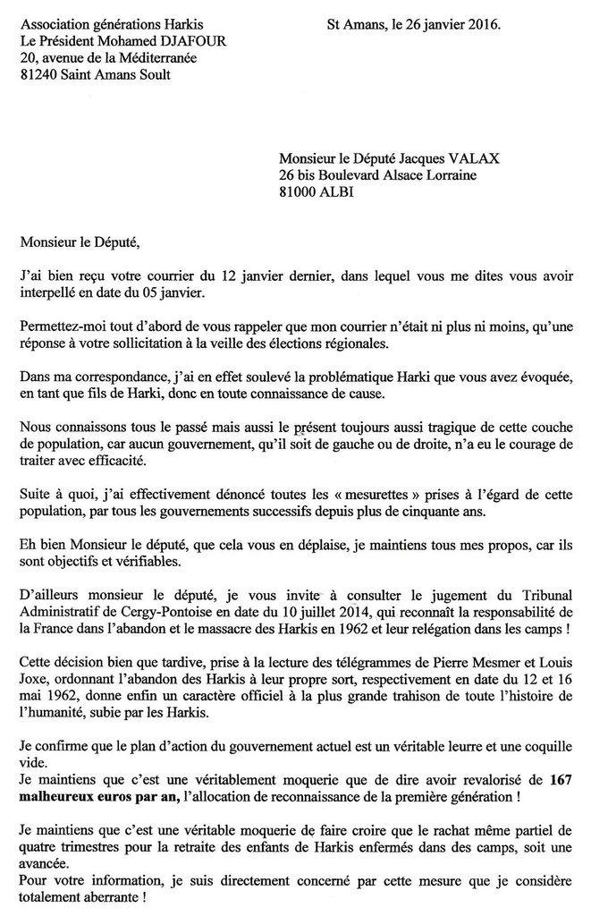 le coup de gueule de mohamed djafour auprés du député jacques valax (81)