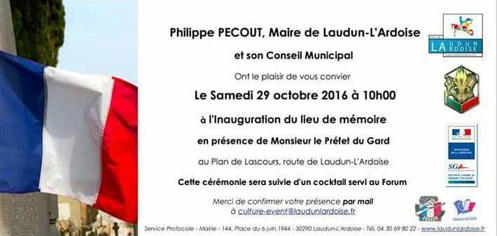 Invitation pour l'inauguration de la stèle en hommage aux harkis leSamedi 29octobre 2016 au château de Lascours à Laudun-l'Ardoise (30).