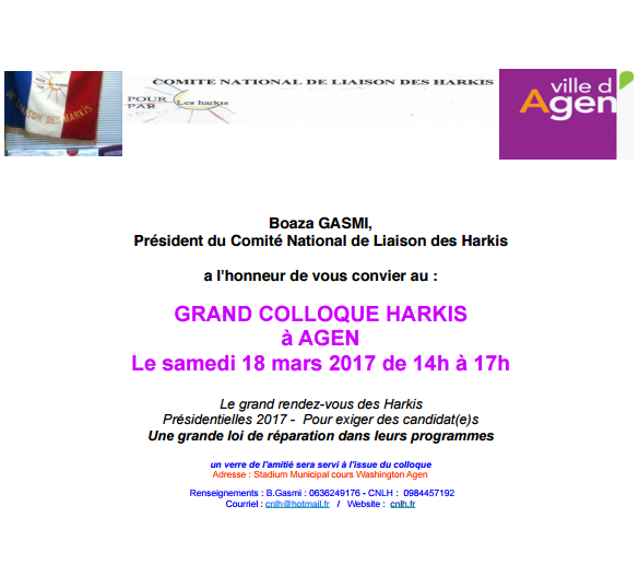 Invitation grand colloque Harkis à Agen le 18 mars 2017