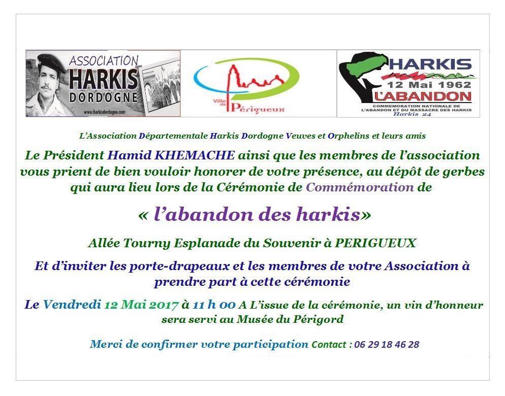 Commémoration abandon des harkis jeudi 12 mai 2017 à Périgueux