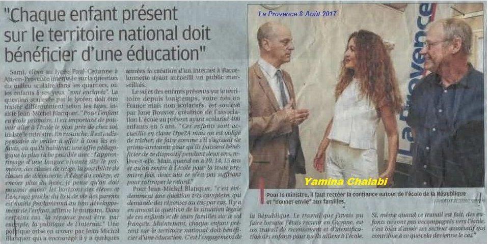 Dialogue entre le ministre de l'éducation et Yamina Chalabi fille de Harkis au journal la Provence