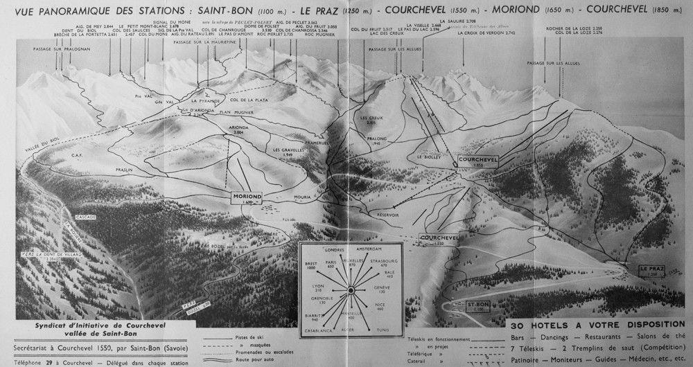 Plan visualisant la descente Moriond-Bozel. On peut y voir aussi plusieurs tracés aboutissant à la vallée des Avals: Brèche de Portetta-Avals, Petit Mont Blanc-Avals, Col de Chanrouge-Avals.       CLIQUER SUR LE PLAN POUR L'AGRANDIR.