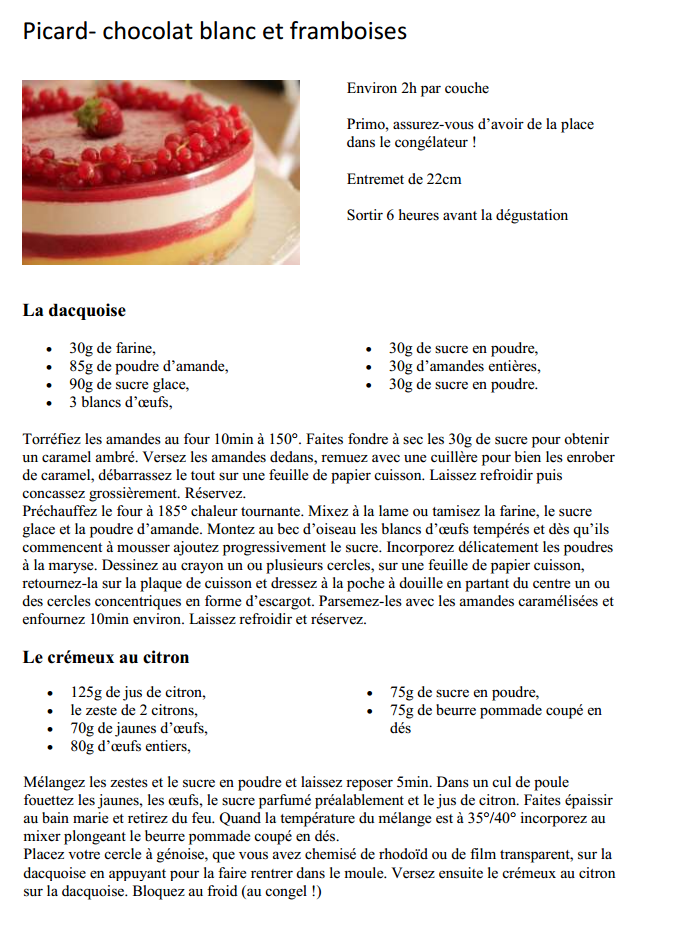 Recette entremet chocolat blanc-framboise